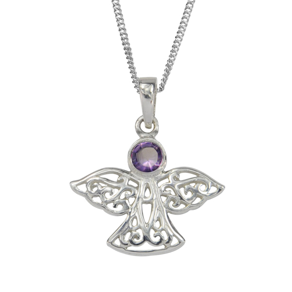 FEBRUARY BIRTH STONE (AMETHYST) ON A 925 SILVER CELTIC CROSS PENDANT NECKLACE ON 16