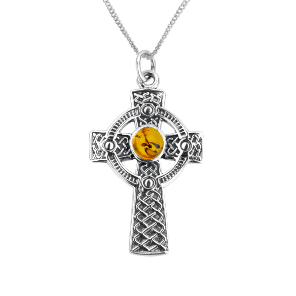 Celtic iona cross silver pendant with amber 0730 aloadofball Image collections