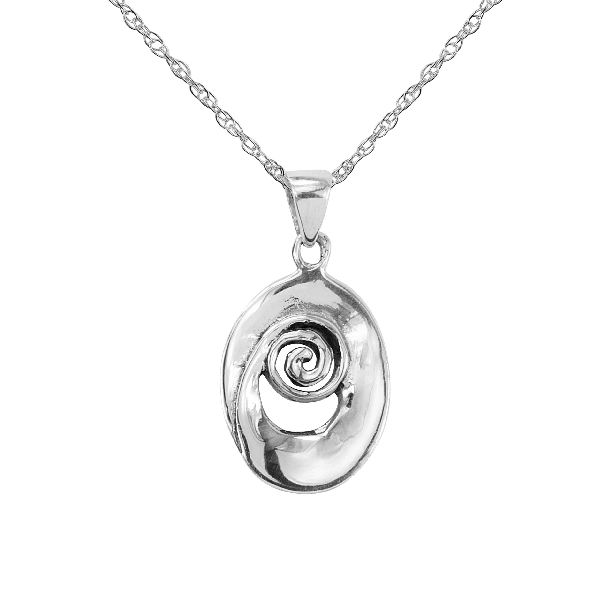 necklace spiral pendant product closeup