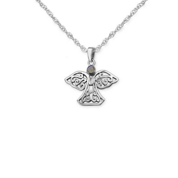 Celtic sterling silver angel pendant with agate gemstone 9550 aloadofball Gallery