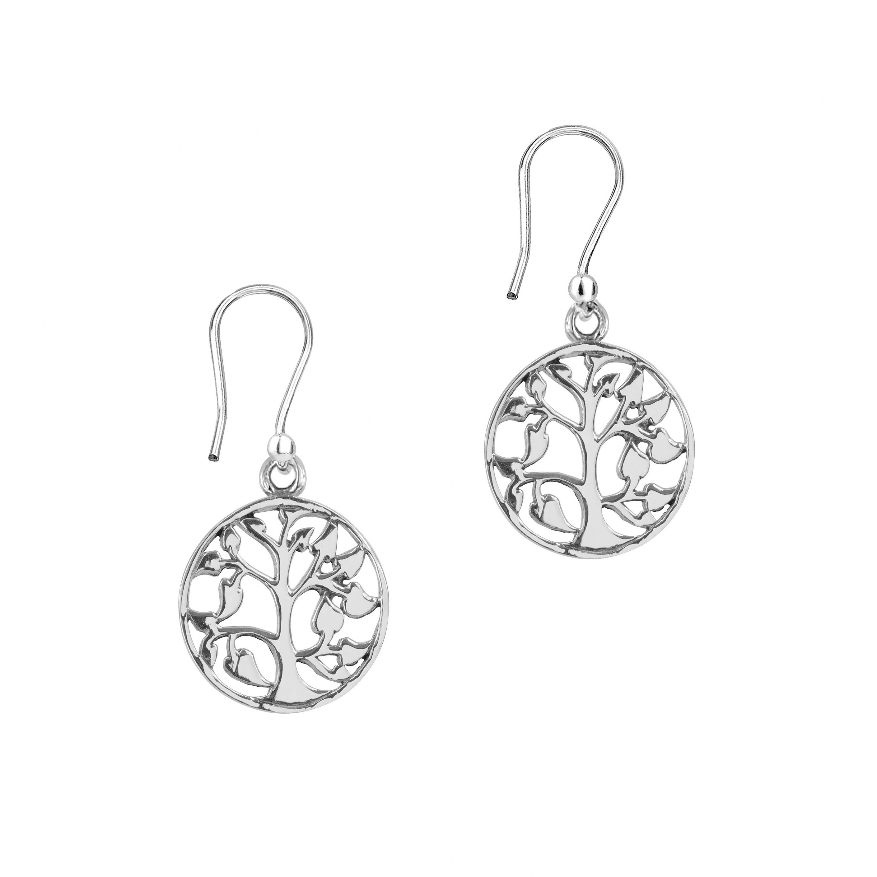 Celtic Tree Of Life Silver Round Earrings 9024