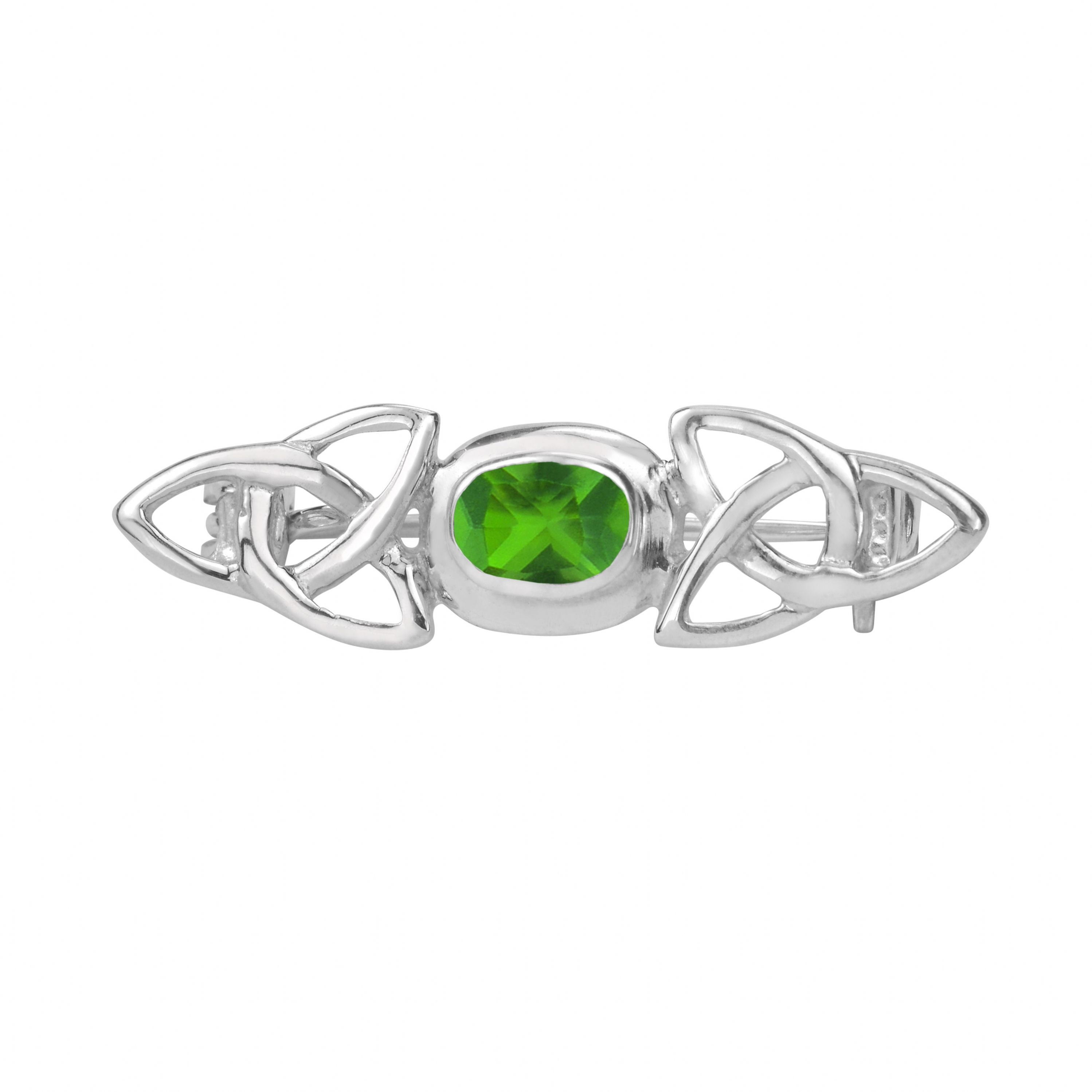 Celtic Trinity Knots Silver Brooch With Emerald Colour