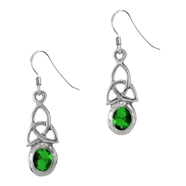 Celtic Trinity Knot Silver Birthstone Drop Earrings May