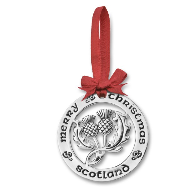 Silver Plated Christmas Decoration Scottish Thistle 0945