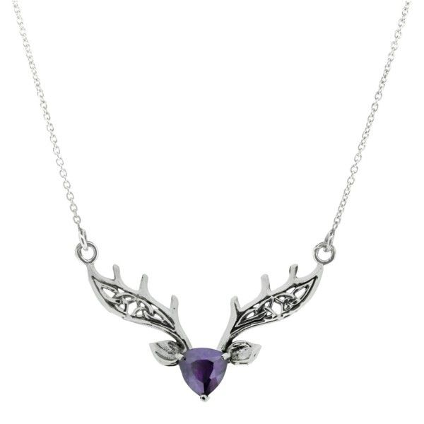 Scottish highland stag silver necklace with amethyst colour stone 9831 aloadofball Image collections
