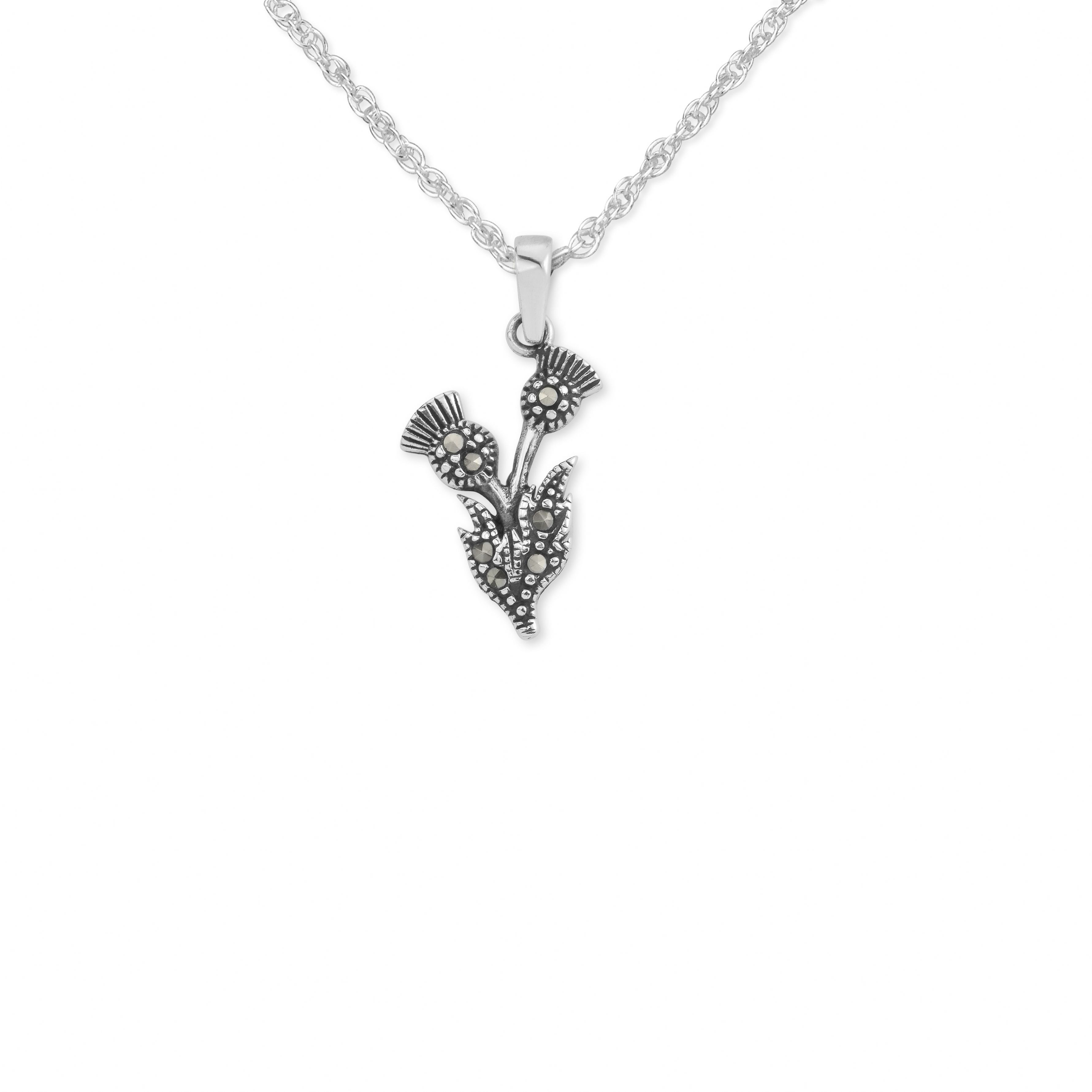 Scottish thistle silver pendant with marcasite 9466 aloadofball Image collections